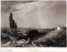 Verona: Panorama da Colle San Pietro 2.Acciaio.Stampa Antica + Passepartout.1835