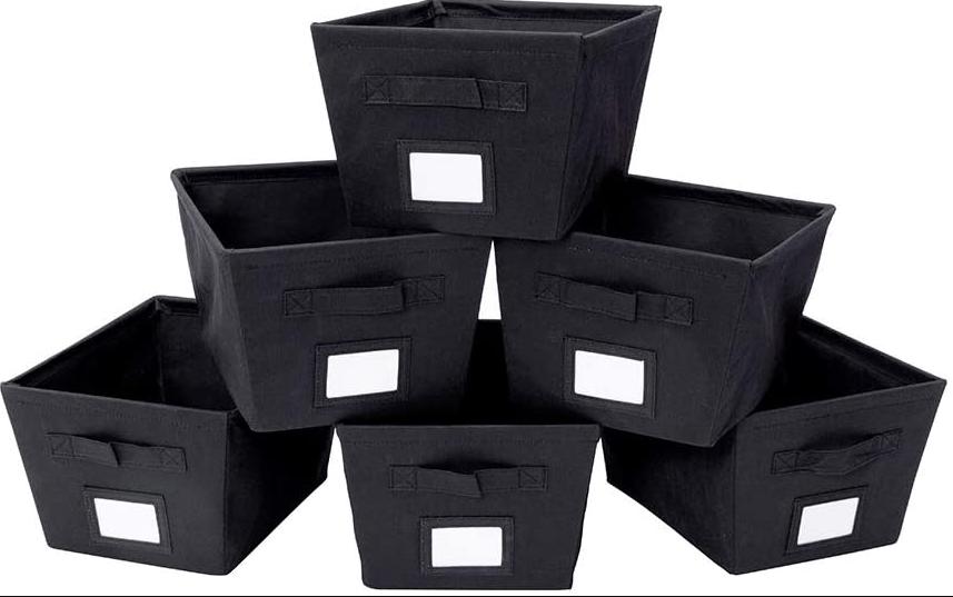 12 New Black Half Storage Bins Cube Organizer Fabric Totes Boxes Basket Foldable