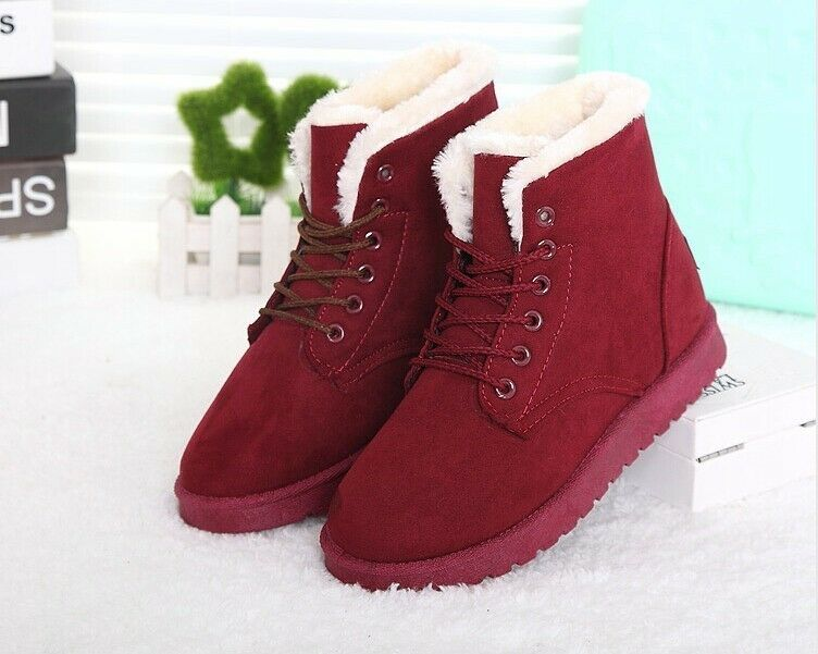 Women Snow Boots Warm Winter Boots Lace Up Fur Ankle Boots ITC698.