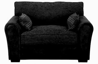 Barcelona Cuddle Chair in Black Faux Suede and Plain Black Chenille