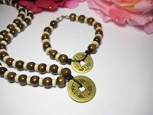 Schmuckset Leder Münze Perlen Schmuck Halskette Armband Glücksmünze Feng Shui - Albstadt, Deutschland - Schmuckset Leder Münze Perlen Schmuck Halskette Armband Glücksmünze Feng Shui - Albstadt, Deutschland