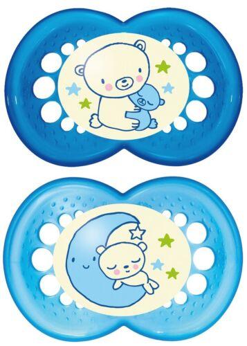 Months MAM Night Glow in The Dark Baby Boy SooTher Dummy Pacifier 6 Blue