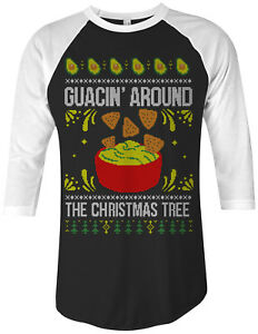 432c558f Guacin' Around The Christmas Tree Unisex Raglan T-Shirt Funny Gift ...