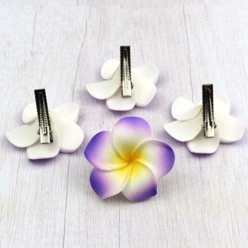 10pcs 5cm Hawaiian Frangipani Hair Clip Plumeria Foam Head  Women Hair Clip DIY
