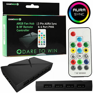 Game-Max-RGB-LED-Fan-Controller-Hub-6-Port-3-Pin-Aura-Sync-3pin-Power-PWM-Remote