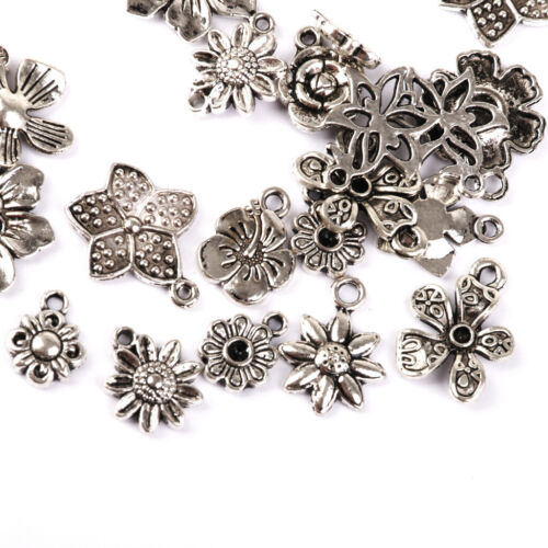 50pcs Tibetanische Silberne Blumen Charme Anhänger Perlen Schmuckherstellung
