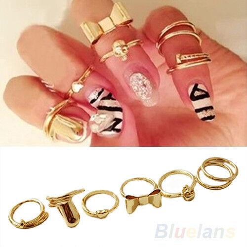 7 Pcs Golden Skull Bowknot Heart Nail Band Mid Finger Top Royal Rings Set