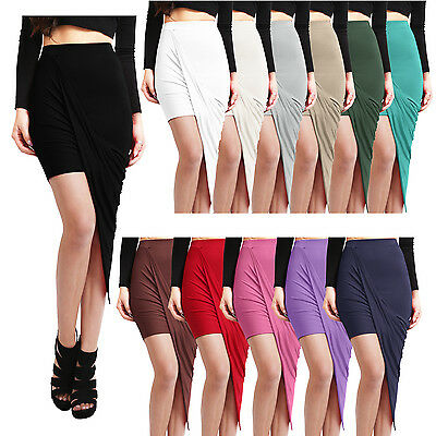 NE PEOPLE Womens Light Weight High Waist Draped Above Knee Stretch Skirt NEWSK22
