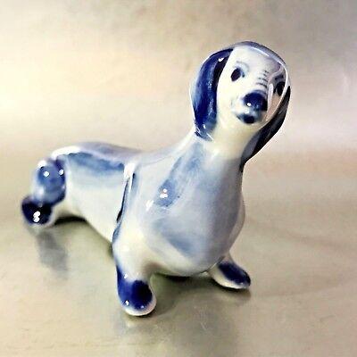 100% QualitäT Dackel Porzellan Hunde Figur Aus Russland Blaue Farbe Miniatur-figur Um 50 Prozent Reduziert