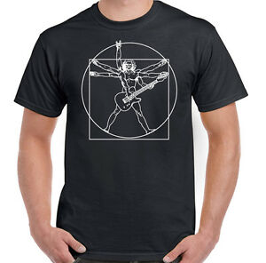 Vitruvian-Guitarist-Mens-Funny-Guitar-T-Shirt-Electric-Bass-Acoustic-Amp-Player
