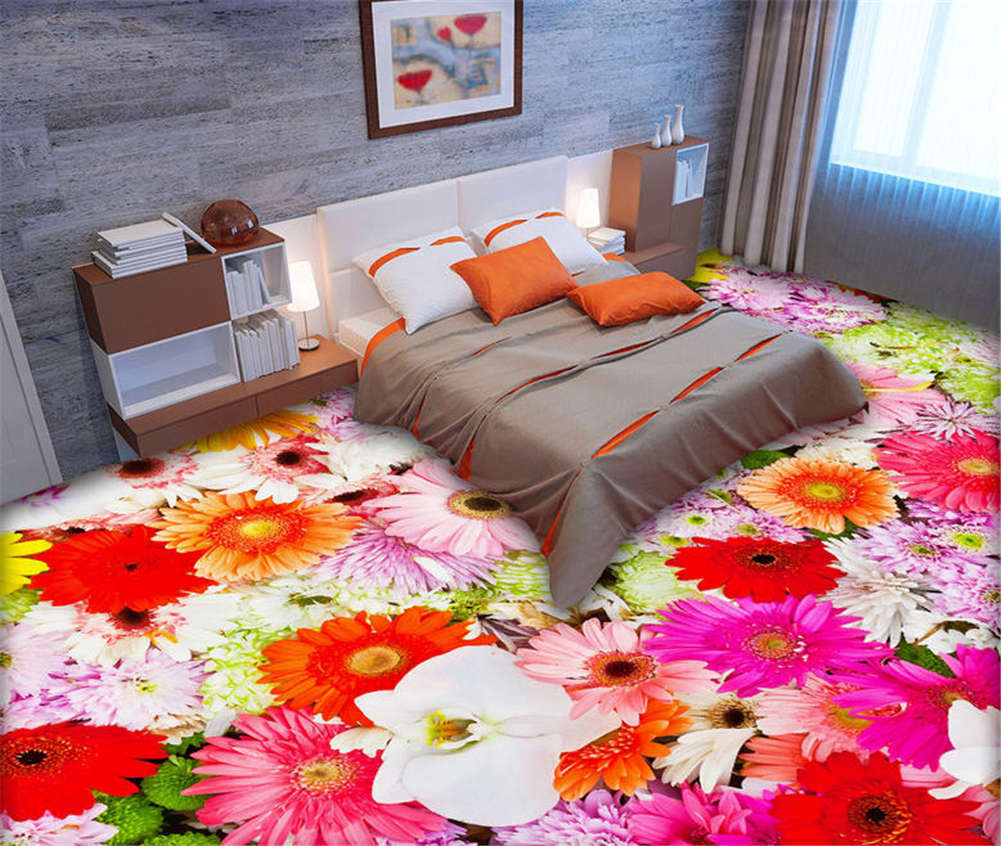 Iridescent Peony 3D Floor Mural Photo Flooring Wallpaper Home Print Decoration