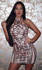 Abito Aperto ricamato Aderente Stampato Pailette Zip Ballo Party Sequin Dress L