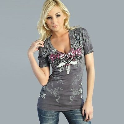 SMALL SINFUL by AFFLICTION Ladies Long Sleeve V-Neck NEW $58 TAGS!!