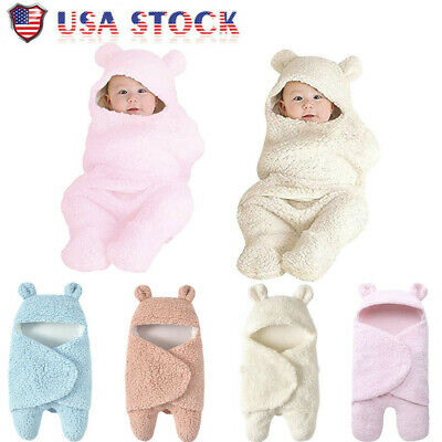 Newborn Baby Boy Girl Cute Cotton Receiving White Sleeping Blanket Wrap Swaddle