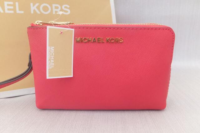 a6714fc2ded2a9 Michael Kors Ladies Pink Jet Set Double Zip leather Clutch Wristlet Bag BNWT