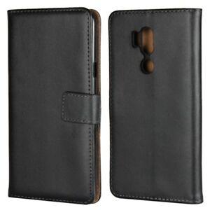 LG G7 ThinQ Wallet Case Genuine Split Echt Leder Tasche TPU Book Etui Hülle Bag