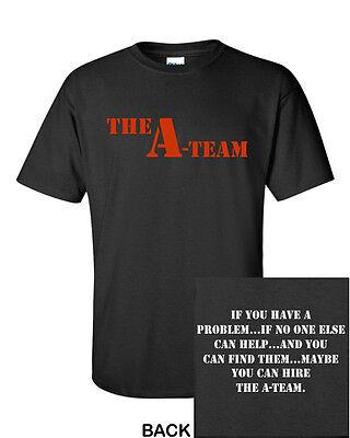 The A-TEAM Men's T-Shirt BLACK New Funny Vintage Logo RETRO Classic 80's