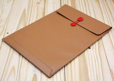 Coffee PU Leather Soft Sleeve Bag Case For Macbook Air Pro 11'' 13'' 15'' inch