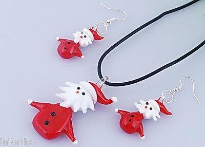 navidad Conjunto Colgante y pendientes y  de cristal de Papanoel Santa Claus