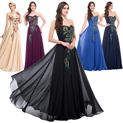 Black Peacock LONG MASQUERADE WEDDING Party Formal Evening Ball Gown PROM DRESS