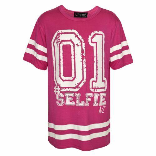 Girls Top Kids 01 #Selfie Print Desinger Stylish Fashion T Shirt top 7-13 Years