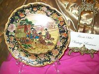 "Satsuma Style Plate 8"" Crackle Moriage Painted Golaze Crazing Porcelain Chinese"