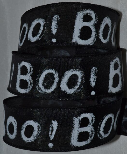 Wired Ribbon~Halloween~Boo!~Black~Chalkboard White~Fall Holiday~Wreath~Craft~Bow