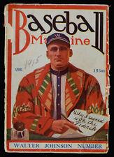 1915 Walter Johnson Cover Baseball Magazine Washington and Federals