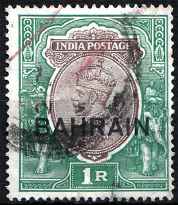 BAHRAIN-1933-37-KGV-1Rs-ovp-on-INDIA-stamp-SG-12-SC-12-Cat-12-Used
