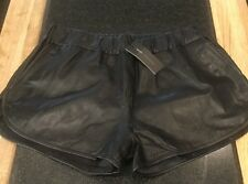 STYLISH MOSS COPENHAGEN LADIES BLACK LEATHER SHORTS / SIZE L /NWT