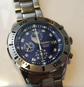 Seiko-7t92-0ns0-Herren-Chronograph-Armbanduhr-blau-Gesicht-amp-S-Stahl-Armband