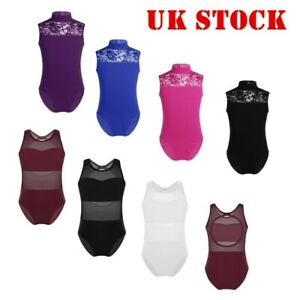 UK-Girl-Lace-Ballet-Dance-Leotard-Kid-Gymnastics-Cutouts-Bodysuit-Yoga-Dancewear
