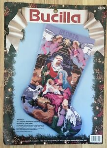 Needlepoint Christmas Stocking Kit.Details About Needlepoint Christmas Stocking Kit Bucilla Nativity 60712 Holy Family Vtg Gillum