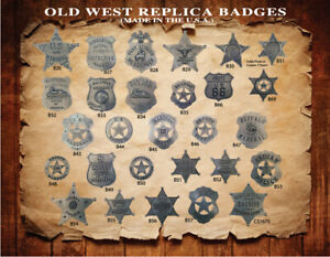 20-ASSORTED-OLD-WEST-WESTERN-BADGES-STAR-VINTAGE-COLLECTIBLE-YOU-PICK-STYLES