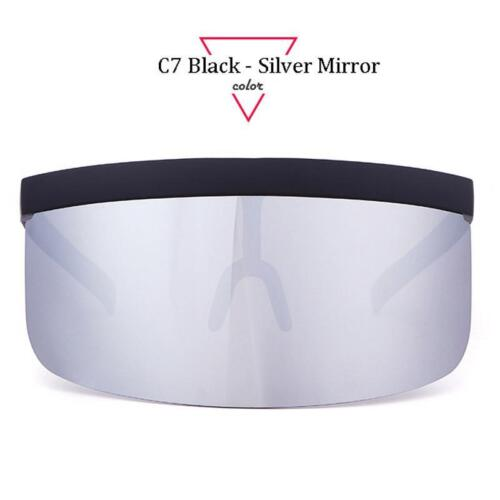 Women Oversized Shield Visor Retro Windproof Flat Top UV400 Sunglasses