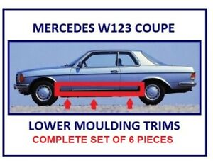 Mercedes C123 W123 Coupe Lower Door Moulding Trims Complete Set Of 6