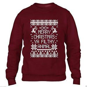 in vendita b0fa6 9aef5 Dettagli su Buon Natale Ya Filthy Animal Sweater Maglione uomini donne Xmas  DIVERTENTE Felpa- mostra il titolo originale