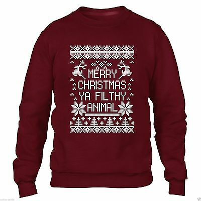MERRY CHRISTMAS YA FILTHY ANIMAL SWEATER JUMPER MEN WOMEN XMAS FUNNY SWEATSHIRT