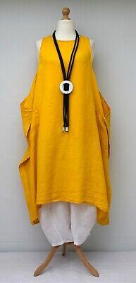 Look A Strati Lino Oversize Tinta 2 Tasche Abito Lungo *giallo* Xl-xxl-xxxl Osfa