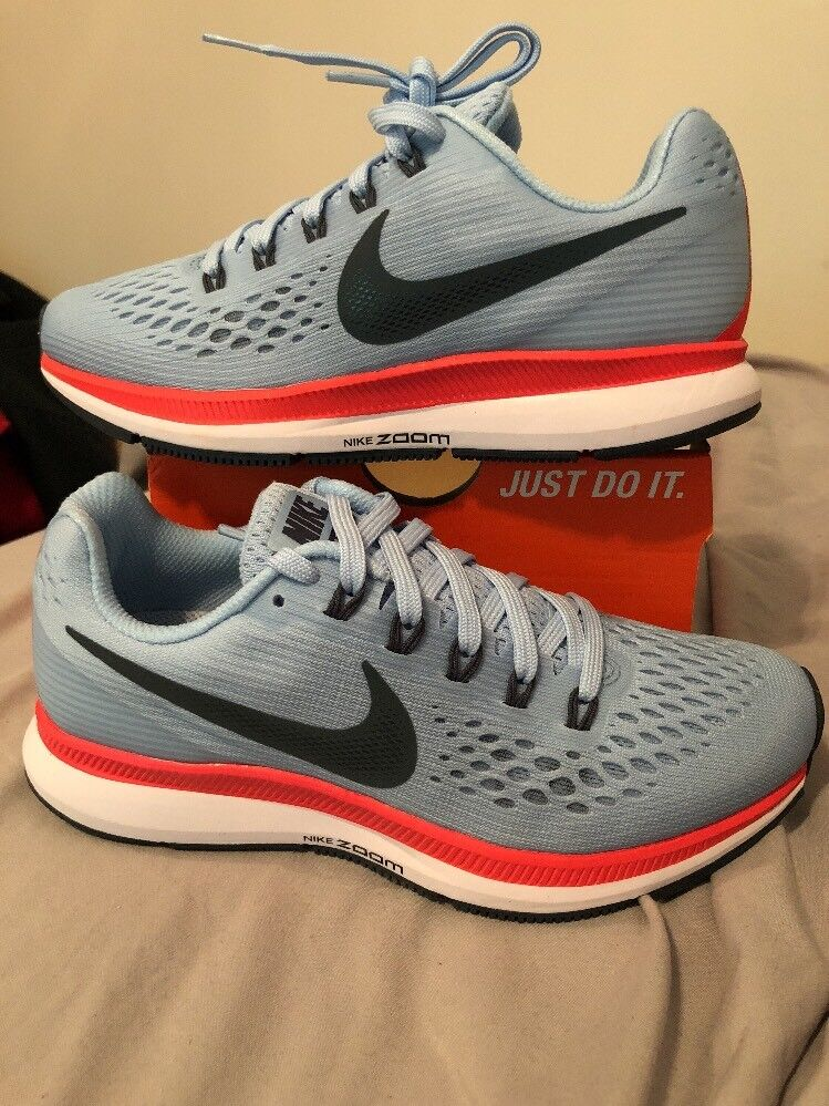 womens nike air zoom pegasus 34 Sz 5.5 Ice Blue/ Blue Fox 880560 404