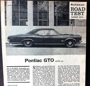 Details about PONTIAC GTO - 6375cc -1966- Road Test from AUTOCAR magazine