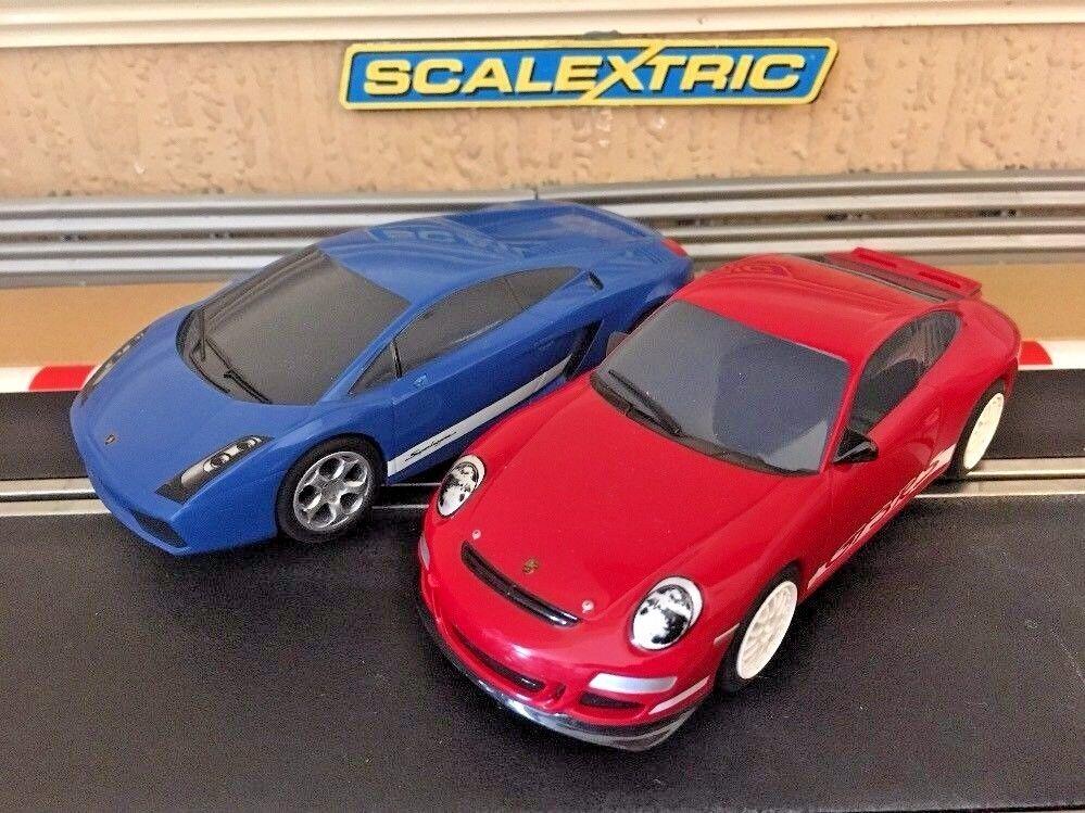Scalextric Porsche 997 GT3RS & Lamborghini Gallardo Fully Serviced