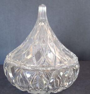 Vintage diamond cut Hershey/'s Kiss shaped clear glass candy dish