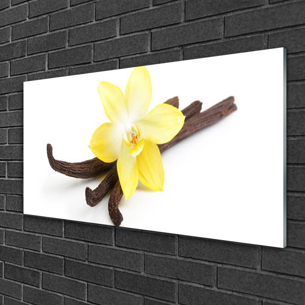 Image sur verre Tableau Impression 100x50 Floral Vanille
