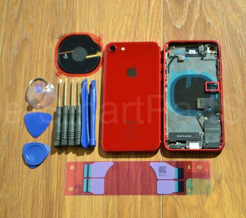 Alloggiamento Posteriore Coperchio Della Batteria Vetro Con Piccole Parti   taptic MOTORE iPhone 8 Rosso