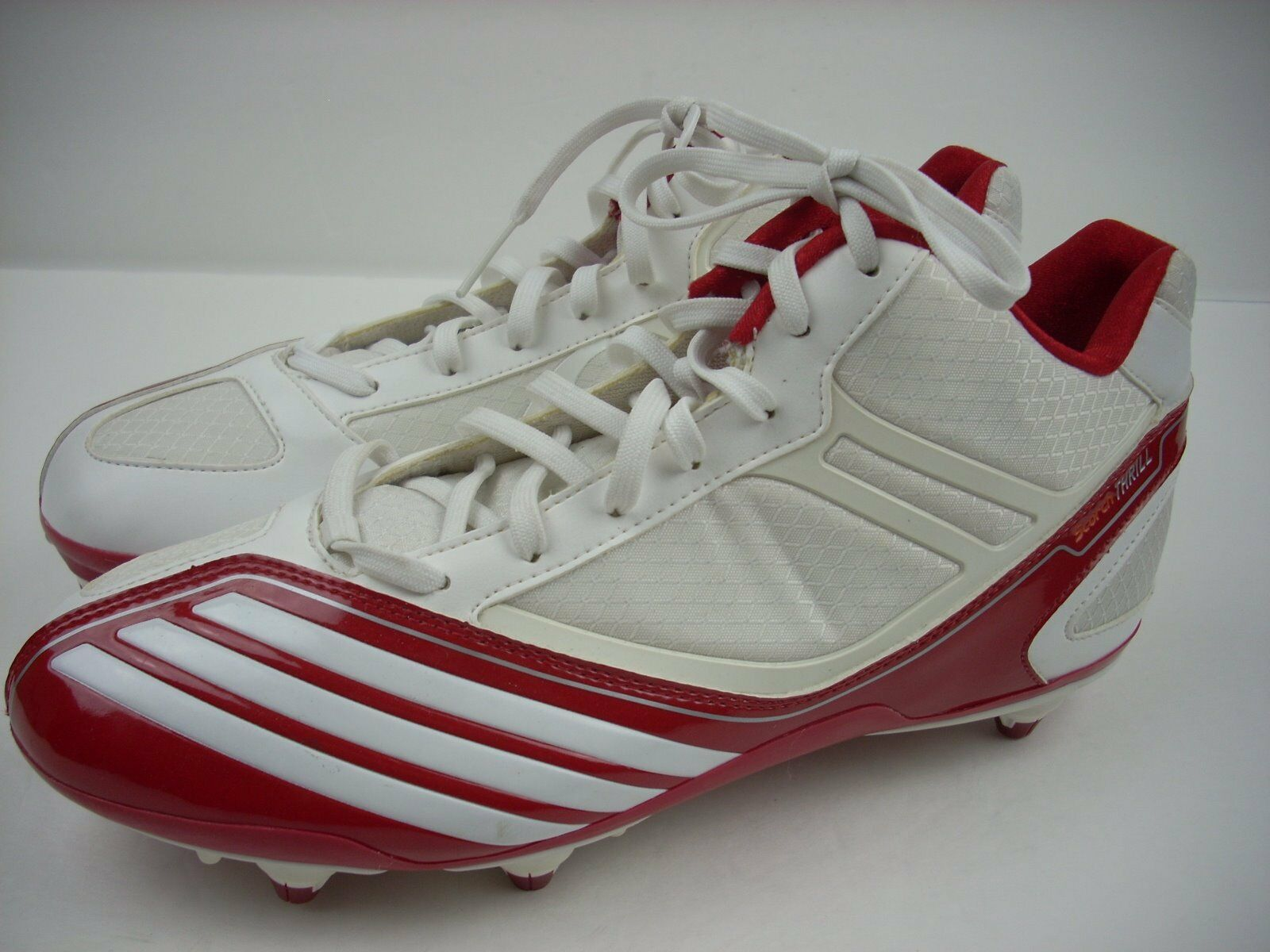 2d87a8776 NEW ADIDAS Football shoes US Red White Cleats Thrill Scorch 9 Lacrosse  nuesxm1727-Men