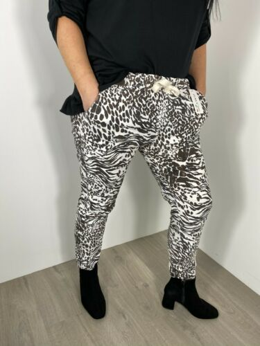 Magic Pants Stretchy Lounge Pants Leopard Tiger White Brown Fits 12-16 /& 18-24