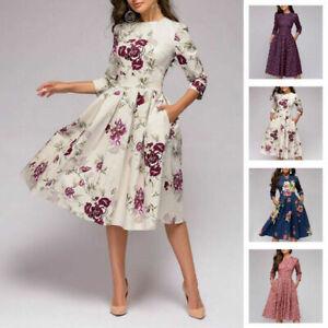Autumn-Spring-Vintage-Dress-Women-Retro-Tunic-Long-Sleeved-Print-Floral-Dresses