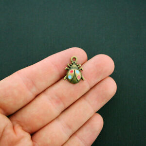BC363 4 Ladybug Charms Antique Bronze Tone with Enamel Painted Accents