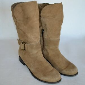 0f56e12fbee Details about Bandolino Thisone Brown Suede Boots Slouch Womens 9 M Mid  Calf Half Zipper Cuff